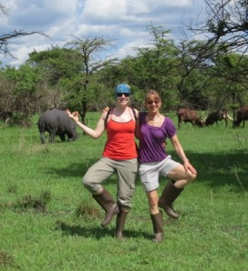 Laura and Ann Marie yoga with the Rhinos at the Rhino Sanctuary