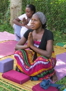 A Shanti Yogi mom during one of the practicum classes. The woman in the white is having her 8th! baby
