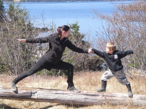 Partner Yoga Warrior Poses on Woody Island.
