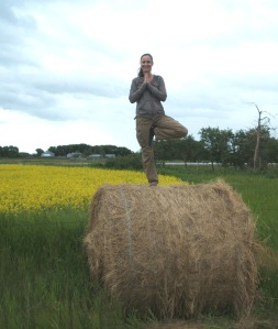 Tree Pose in a Canola Field in Saskatchewan