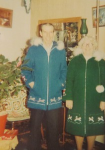 My Nana and Grandad in the Grenfell Jackets that my mom made and gave them for Christmas that year.